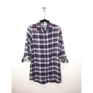 Lucky Brand Blue Plaid Flannel Nightshirt Medium